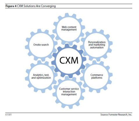 """Forrester beobachtet beim CRM einen Trend zur Konvergenz. Demnach wachsen die hier abgebildeten Zahnräder zu """"CXM"""" zusammen."""