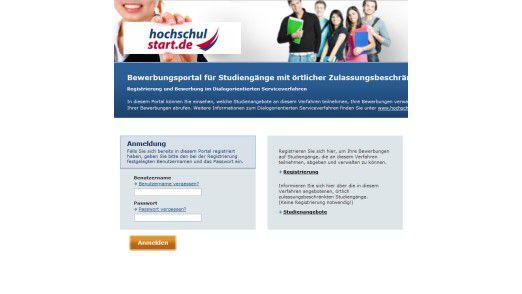 Hier können sich die Bewerber für örtlich zulassungsbeschränkte Studiengänge registrieren.