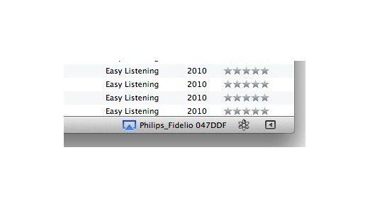 iTunes zeigt am unteren rechten Rand verfügbare Airplay-Geräte.