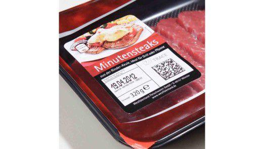 Minutensteak mit Background-Informationen: Der QR-Code klärt über Herkunft und weitere Details des Fleischprodukts auf.