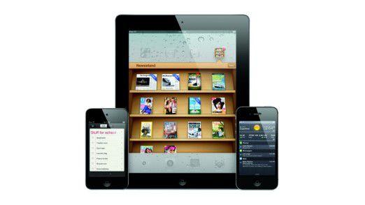Der Apple iPod, das iPad und das iPhone (v.l.n.r.).