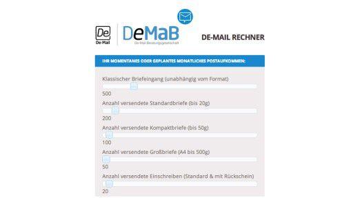 Mit dem DeMaB-Rechner kann eine Firma ihr Postaufkommen einstellen und ausrechnen, was sie mit De-Mail sparen kann.
