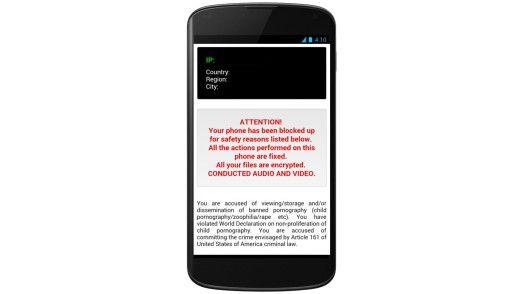 Der Trojaner in Aktion - das Android-Smartphone ist nicht mehr sinnvoll nutzbar.