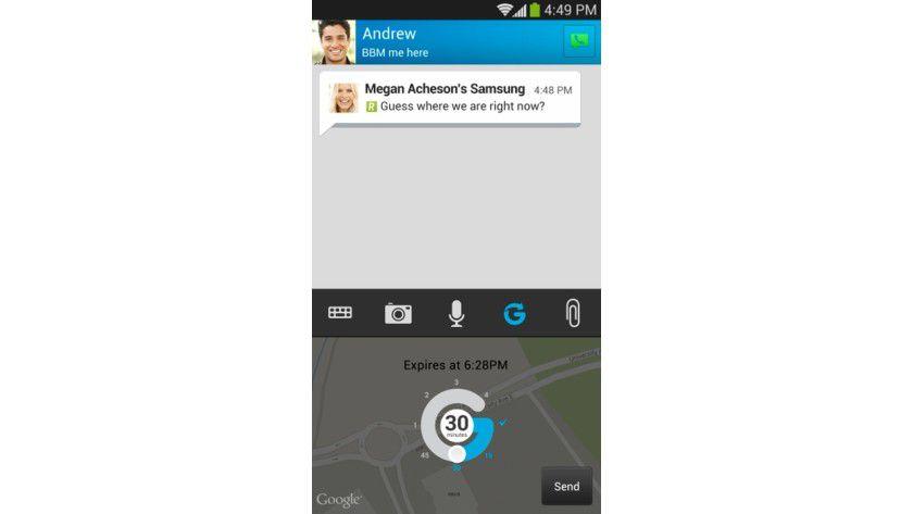 Lokalisierung: Mit Hilfe von Glympse kann man Kontakten den eigenen Standort direkt übermitteln.
