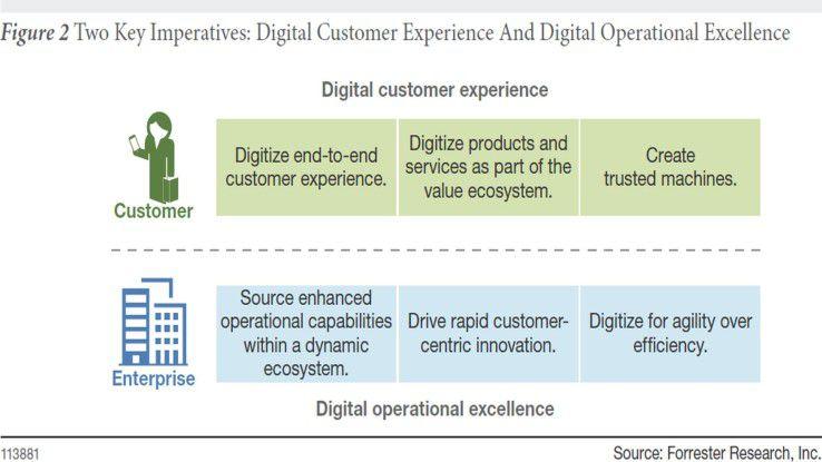 Zwei Dinge sind nach Einschätzung von Forrester Research elementar für digitalen Erfolg: das digitale Customer Experience und die operative Exzellenz.