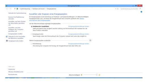 Am besten Ausbalanciert: Dieses Windows-Energieschema passt am besten für ein aktuelles Notebook, weil es die Sparfunktionen des Mobil-Prozessors optimal nutzt