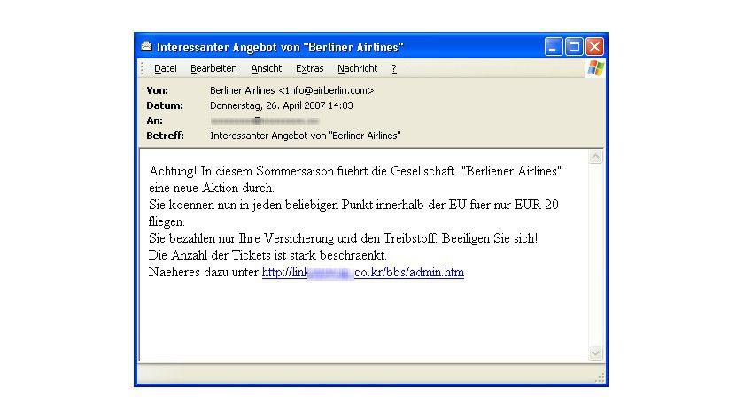 Gebrochen: Die Phishing-Mail enthält eine Reihe von Fehlern.