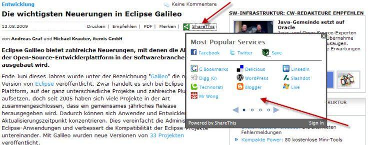 """Das direkte Verlinken von COMPUTERWOCHE-Beiträgen auf Social-Media-Plattformen ermöglicht die Funktion """"Share this""""."""