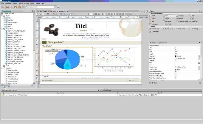 iReport 3.5.3 als komfortabler WYSIWYG-Editor zur Erstellung von JasperReport-Templates.