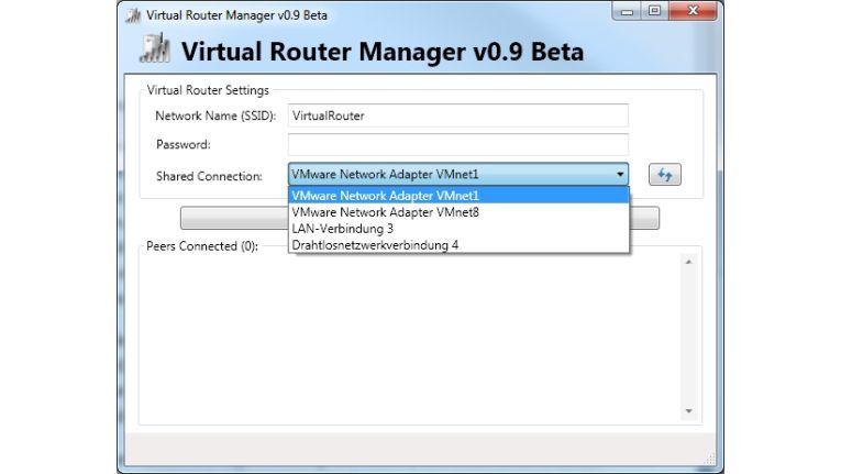 Einstellungen in Virtual Router.