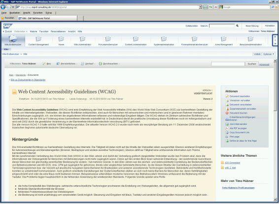 Ein erster Blick auf das neue SAP-Portal 7.3 - hier die voraussichtliche Benutzeroberfläche für Wiki-Einträge.