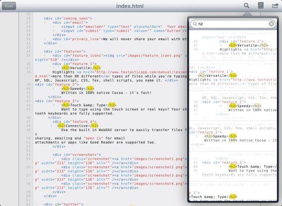 Textastic 1.0 unterstützt Syntax-Highlighting für rund 80 Programmiersprachen.