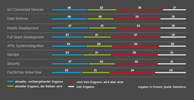 Wo IT-Chefs einen Mangel an Skills beklagen: Die internationale Umfrage zeigt, dass es überall an qualifiziertem IT-Personal fehlt – jetzt und in Zukunft.