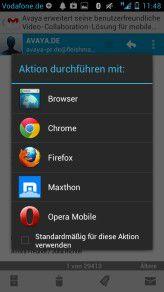 Die verschiedenen Browser in Android - auf Wunsch kann man einen Browser als neuen Standard definieren.