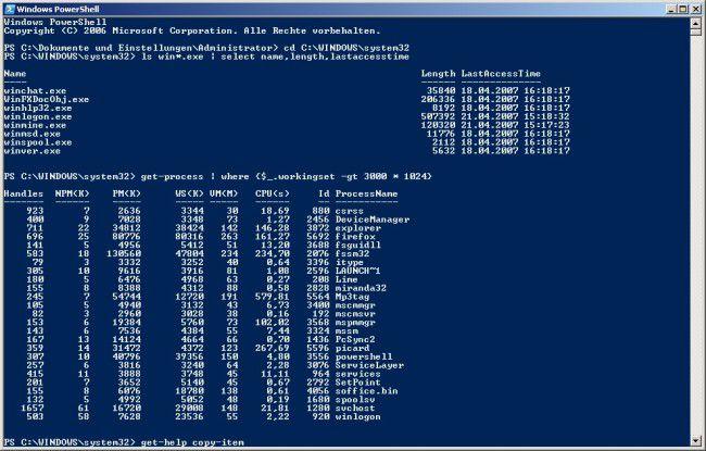 """Die neue Windows """"PowerShell"""" – in Longhorn mit dabei."""