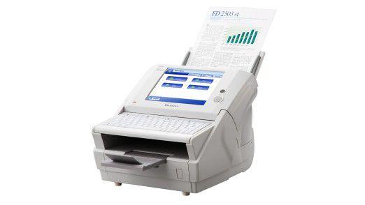 Der Netzwerkscanner fi-6010n von Fujitsu ist mit vollwertiger Tastatur und Display ausgestattet.