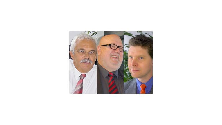 Die Vobis-Geschäftsführer (v.l.): Jürgen Bochmann, Jürgen Rakow und Siegfried Raisin