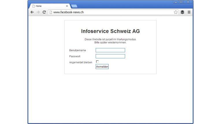 """Die Internet-Seite www.facebook-news.ch führt zu einer Seite """"im Wartungsmodus"""" der Infoservice Schweiz AG."""