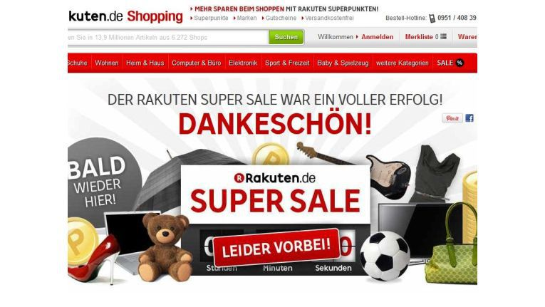 """""""Bald wieder hier!"""", verspricht Rakuten auf der Webseite zum Super Sale"""