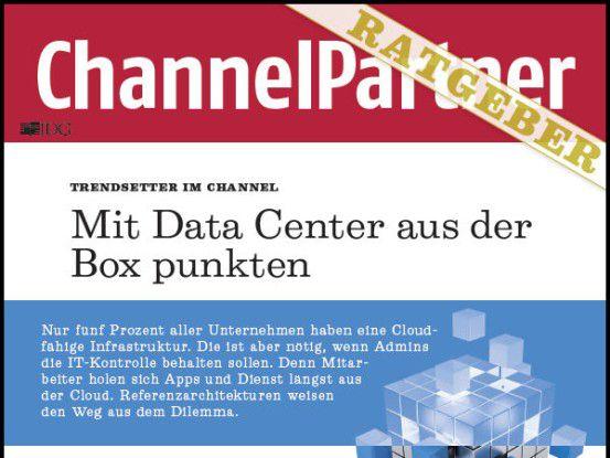 """Titelseite des ChannelPartner-Ratgebers """"Mit Data Center aus der Box punkten"""" (Ausschnitt)"""