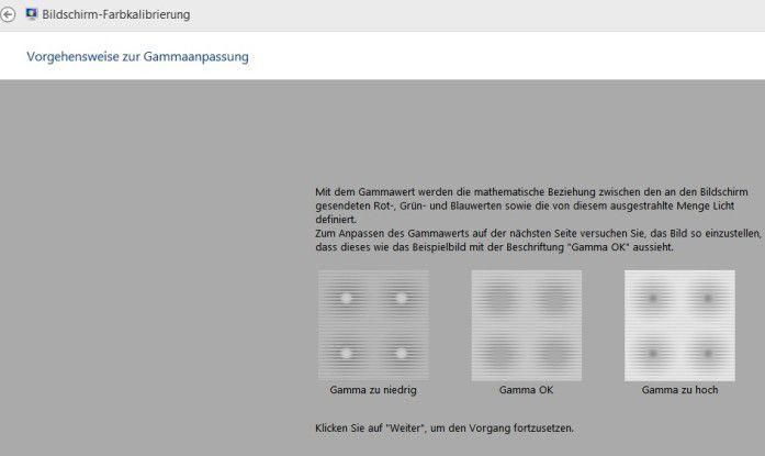 Hinter dem Windows-Befehl dccw verbirgt sich die Windows-eigene Bildschirm-Farbkalibrierung. Das Bild zeigt, wie ein nicht optimaler Gammewert (typischerweise 2,2) die Punkte in der Mitte der Kreise außen links und rechts mal zu hell und mal zu dunkel erscheinen lässt.