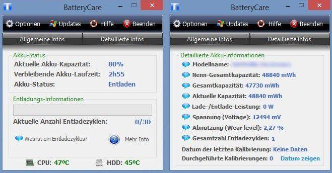 Der Name ist Programm. Die Freeware BatteryCare bietet sehr viele Informationen über den Energiehaushalt des Notebooks und kann durch Benachrichtigungsfunktionen und weiterführende Online-Tipps dazu beitragen, die Lebenszeit des Akkus zu verlängern.