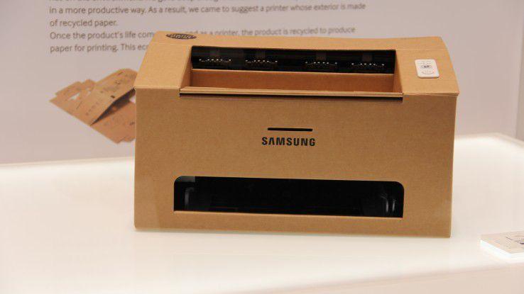 Das Gehäuse dieses Drucker-Prototypen von Samsung wird aus einem Stück Wellpappe gefaltet.