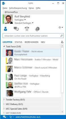 Die Stati der einer Projektgruppe angehörigen Kollegen lassen sich in Microsoft Lync schnell erkennen.