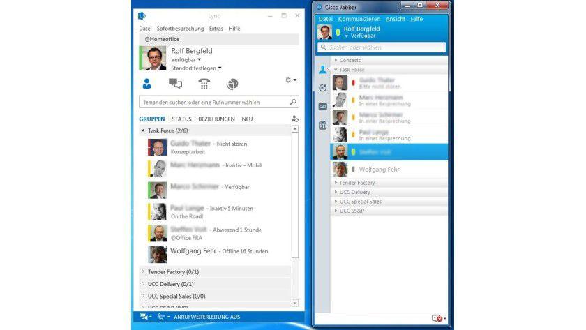 Die beiden Clients von Microsoft Lync und Cisco Jabber im Vergleich.
