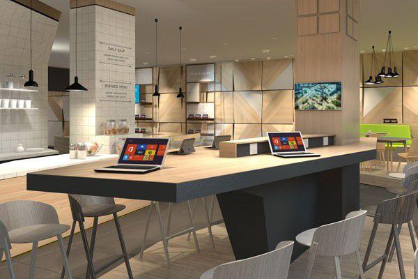 """In der neuen Berliner Niederlassung von Microsoft findet sich nicht nur das öffentliche Café """"The Digital Eatery"""", sondern auch Platz für zehn Startups, die der Softwarehersteller fördert. Mentoren machen die Jungunternehmen vier Monate lang fit in Sachen Technologie, Design, Business Development und Marketing."""