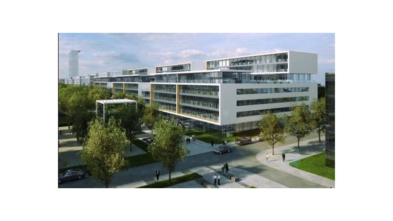 Parktstadt Schwabing: Direkt neben der Autobahn A9, die von Nürnberg kommend in Münchens Norden endet, sollen die Microsoft-Gebäude die letzte Lücke in der Gewerbe-Zeile schließen.