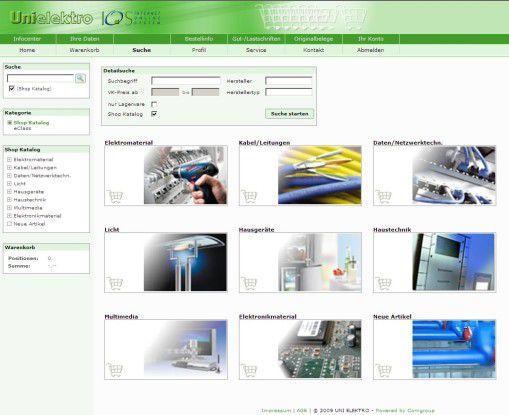 """Der Online-Shop von Uni Elektro, genannt """"Internet Online System""""."""