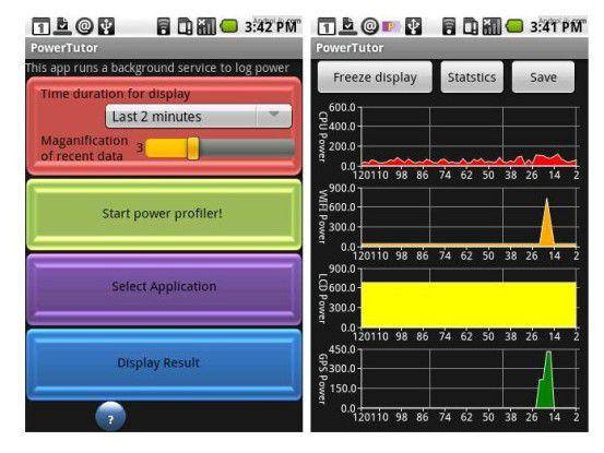 Powertutor stellt grafisch dar, wann der Akku stark belastet wurde.