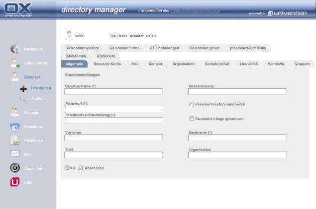 Der Directory Manager von Open-Xchange.