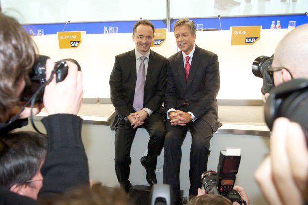 Einträchtig und harmonisch absolvierten die neuen SAP-Chefs Bill McDermott (rechts) und Jim Hagemann Snabe ihren ersten offiziellen Auftritt auf der CeBIT-Pressekonferenz des Konzerns.