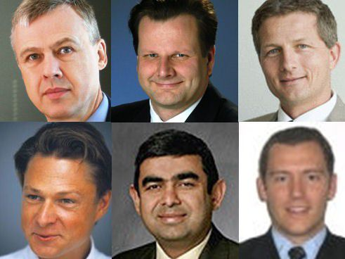 Oben, von links nach rechts: David Thornewill, CIO, Deutsche Post DHL; Oliver Bussmann, CIO, SAP; Pieter Schoehuijs, CIO, AzkoNobel Unten, von links nach rechts: Kurt de Ruwe, CIO, Bayer MaterialScience; Vishal Sikka, CTO and Executive Board Member, SAP; David Llamas, IT Director, Harrods Limited