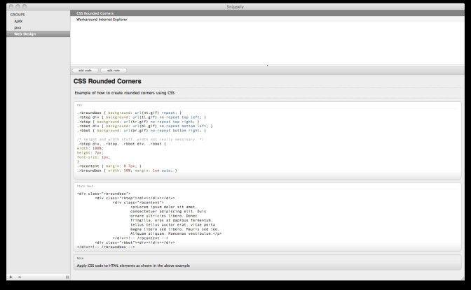 Mit Snippely lassen sich Code-Schnipsel einfach verwalten.