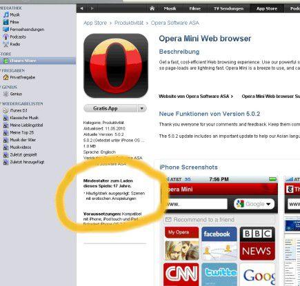 Jugendgefährdend I: Apple warnt vor dem Herunterladen des Opera-Browsers, weil dieser Szenen mit erotischen Anspielungen enthalten könnte. (Quelle: AppStore/Bremmer)
