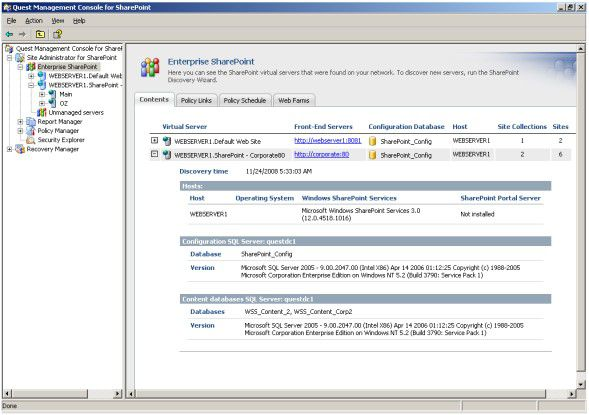 Nach einem Suchlauf des Discovery-Assistenten zeigt der Quest Site Administrator die gefundenen SharePoint-Server in einer Übersicht an.