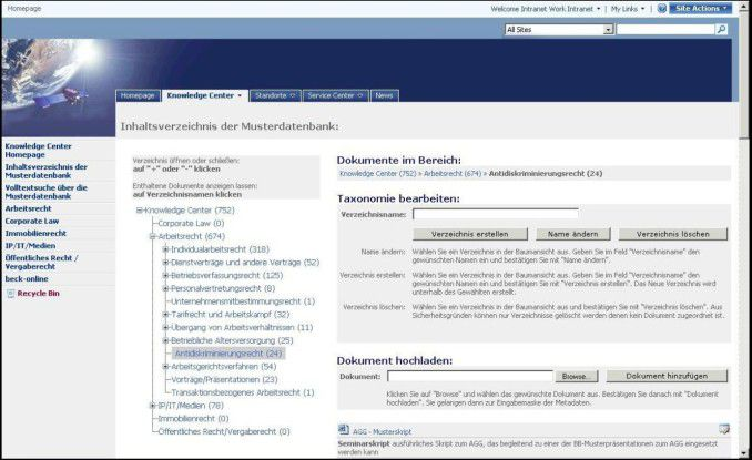 Die dokumentübergreifende Mehrfachkategorisierung am Beispiel der Knowledge-Center-Struktur auf Basis von SharePoint.
