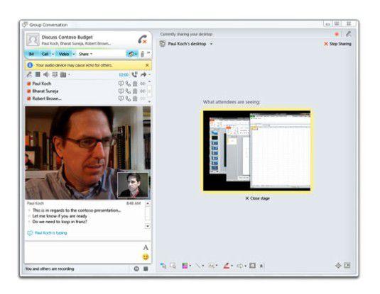 Der Communications Server 14 erlaubt Video-Chat und Bereitstellung von Dokumenten in einer Anwendung. Foto: Microsoft