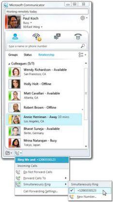 Simultaneous Ringing: Mit dem Lync Server 2010 kann man nicht nur seine Verfügbarkeit steuern, sondern sich auch auf verschiedenen Geräte gleichzeitig anrufen lassen.