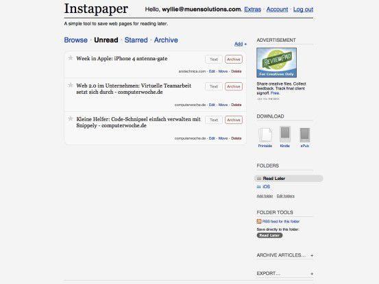 Das Später-Lesen-Tool Instapaper bietet einen einfachen Weg, interessante Online-Beiträge zentral abzulegen und dann von überall und jederzeit bequem abzurufen.