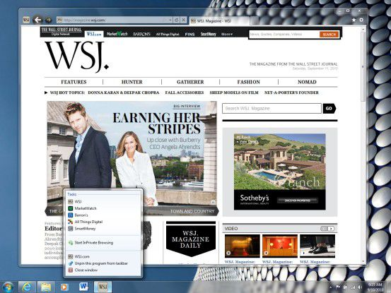 "Das ""Daily Magazine"" des ""Wall Street Journal"" im Internet Explorer 9 Beta"