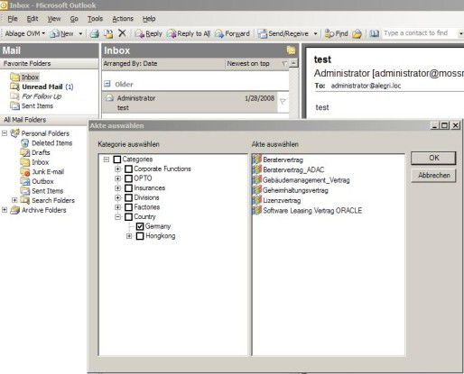 Digitales Vertrags-Management integriert E-Mails und deren Attachments.