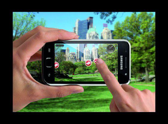 Die Augmented-Reality-App von Layar blendet Zusatzinformationen in die Kamera-Ansicht ein.