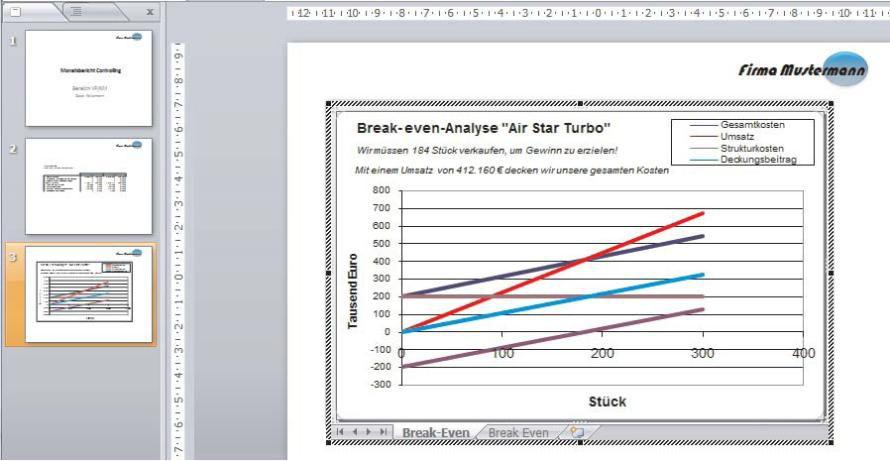 Bild: Excel-Grafikobjekt in der PowerPoint-Folie.