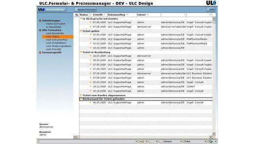 Die ULC-Software stellt Formulare bereit und listet sie anhand von verschiedenen Kriterien auf.
