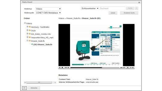 Mit dem Creator von Conet lassen sich Inhalte aller Art auf Web-Seiten publizieren - neben Bildern und Texten auch Videos.