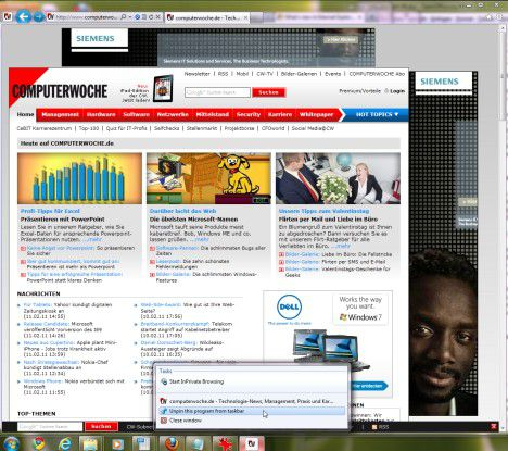 Bild 02: Ab in die Häufig besuchte Webseiten lassen sich im IE 9 in die Schnellstartleiste legen.
